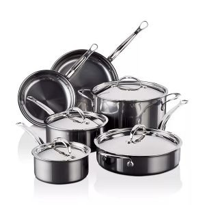 Hestan NanoBond Clad Cookware Set, 10-Piece, Stainless Steel, Titanium