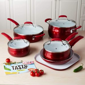 Tasty 11pc Cookware Set Non-Stick - Titanium Reinforced Ceramic, Red
